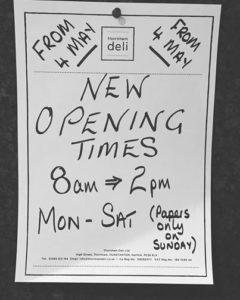 New opening hours at thornham deli